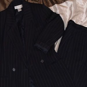 black and white pinstripe suit womens